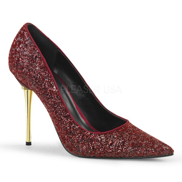 Stiletto Pumps mit Metallabsatz in weinrot Glitter APPEAL-20G